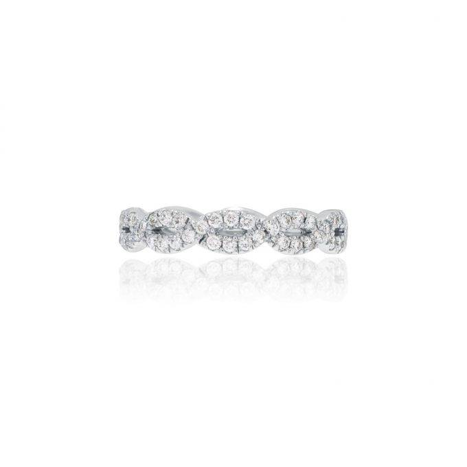 white gold diamond intertwine ring