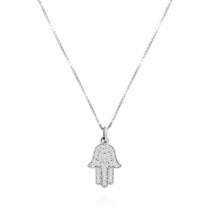 maidor diamond hamsa necklace
