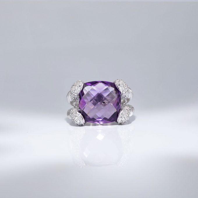 Amethyst and Diamonds Ring