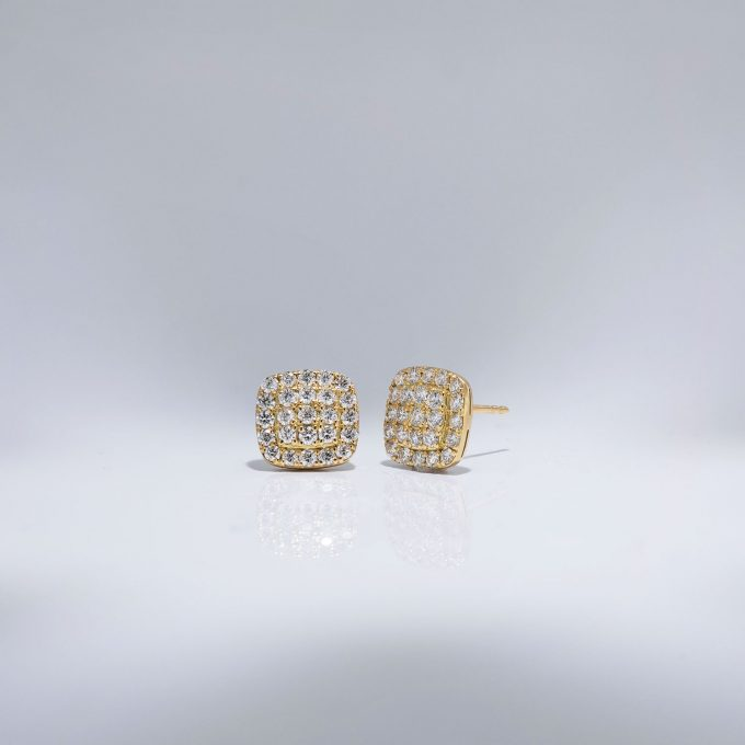 Cushion Diamond Pave Studs