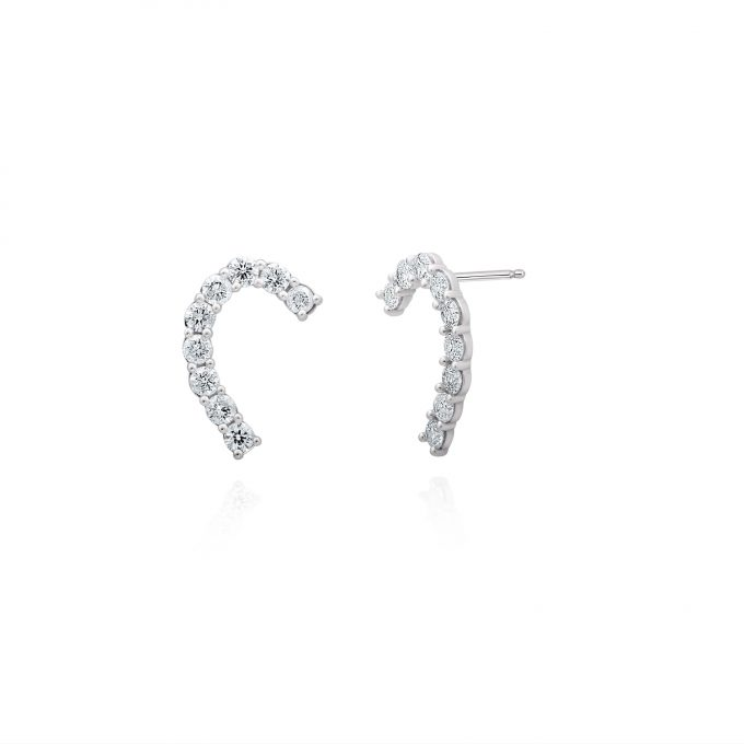 diamond arc earrings